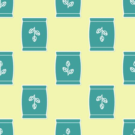 Green Fertilizer bag icon isolated seamless pattern on yellow background. Vector Illustration