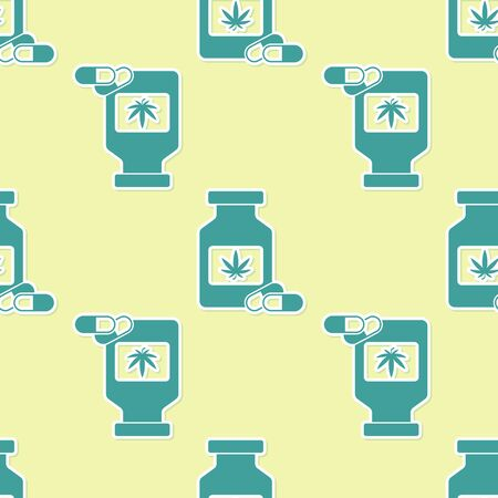 Green Medical bottle with marijuana or cannabis leaf icon isolated seamless pattern on yellow background. Mock up of cannabis oil extracts in jars. Vector Illustration