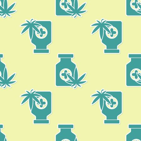 Green Medical bottle with marijuana or cannabis leaf icon isolated seamless pattern on yellow background. Mock up of cannabis oil extracts in jars. Vector Illustration Stockfoto - 130720846