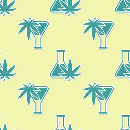 Green Chemical test tube with marijuana or cannabis leaf icon isolated seamless pattern on yellow background. Research concept. Laboratory CBD oil concept. Vector Illustration Фото со стока - 130772360