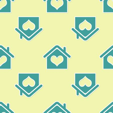Green House with heart shape icon isolated seamless pattern on yellow background. Love home symbol. Family, real estate and realty. Vector Illustration Stock Illustratie