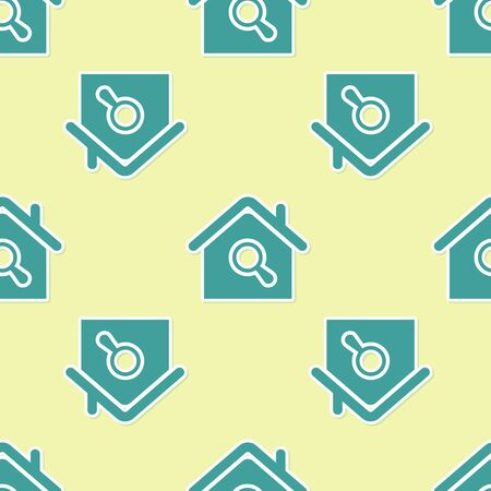 Green Search house icon isolated seamless pattern on yellow background. Real estate symbol of a house under magnifying glass. Vector Illustration