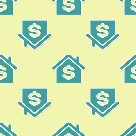 Green House with dollar symbol icon isolated seamless pattern on yellow background. Home and money. Real estate concept. Vector Illustration