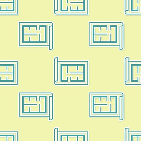 Green House plan icon isolated seamless pattern on yellow background. Vector Illustration Stockfoto - 130779850