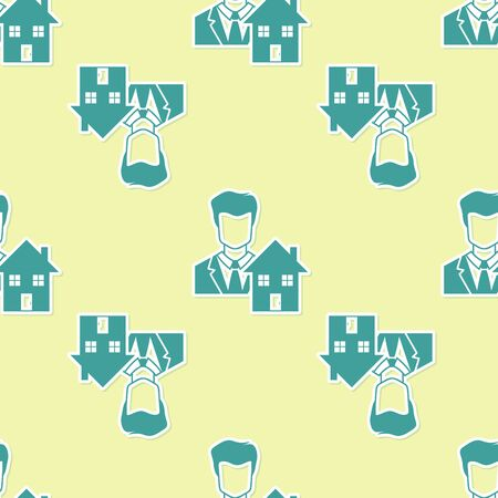 Green Realtor icon isolated seamless pattern on yellow background. Buying house. Vector Illustration Stock Illustratie