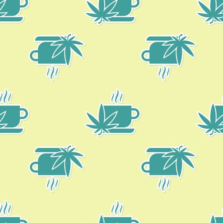 Green Cup tea with marijuana or cannabis leaf icon isolated seamless pattern on yellow background. Marijuana legalization. Hemp symbol. Vector Illustration Stok Fotoğraf - 130780103