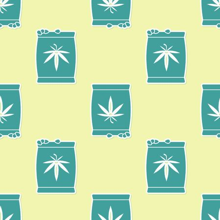 Green Marijuana or cannabis seeds in a bag icon isolated seamless pattern on yellow background. Hemp symbol. The process of planting marijuana. Vector Illustration
