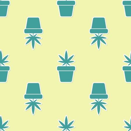 Green Medical marijuana or cannabis plant in pot icon isolated seamless pattern on yellow background. Marijuana growing concept. Hemp potted plant. Vector Illustration Illustration