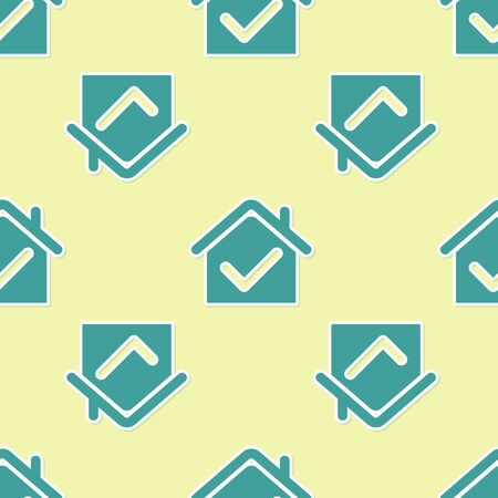 Green House with check mark icon isolated seamless pattern on yellow background. Real estate agency or cottage town elite class. Vector Illustration Stock Illustratie