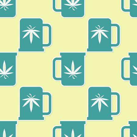 Green Cup tea with marijuana or cannabis leaf icon isolated seamless pattern on yellow background. Marijuana legalization. Hemp symbol.