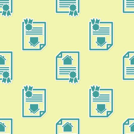 Green House contract icon isolated seamless pattern on yellow background. Contract creation service, document formation, application form composition. Vector Illustration