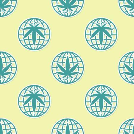 Green Legalize marijuana or cannabis globe symbol icon isolated seamless pattern on yellow background. Hemp symbol. Vector Illustration Ilustracja