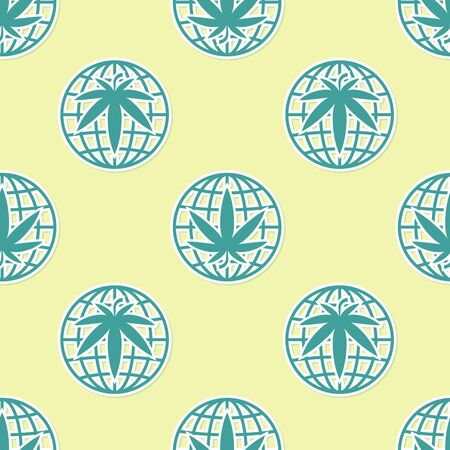 Green Legalize marijuana or cannabis globe symbol icon isolated seamless pattern on yellow background. Hemp symbol. Vector Illustration Illustration