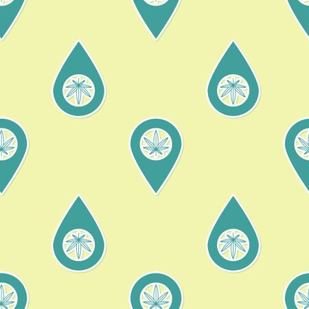 Green Map pointer and marijuana or cannabis leaf icon isolated seamless pattern on yellow background. Hemp symbol. Vector Illustration