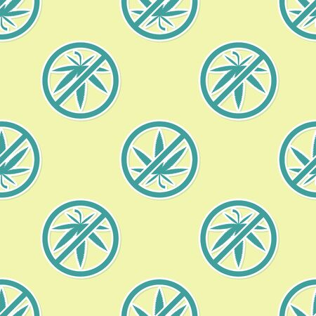 Green Stop marijuana or cannabis leaf icon isolated seamless pattern on yellow background. No smoking marijuana. Hemp symbol. Vector Illustration