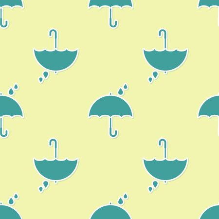 Green Umbrella and raindrops icon isolated seamless pattern on yellow background. Waterproof icon. Protection, safety, security concept. Water resistant symbol. Vector Illustration