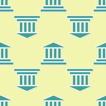 Green Museum building icon isolated seamless pattern on yellow background. Vector Illustration