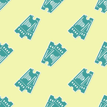 Green Museum ticket icon isolated seamless pattern on yellow background. History museum ticket coupon event admit exhibition excursion. Vector Illustration