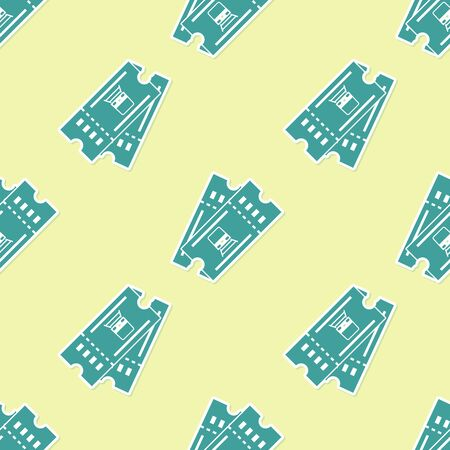 Green Train ticket icon isolated seamless pattern on yellow background. Travel by railway. Vector Illustration Ilustração