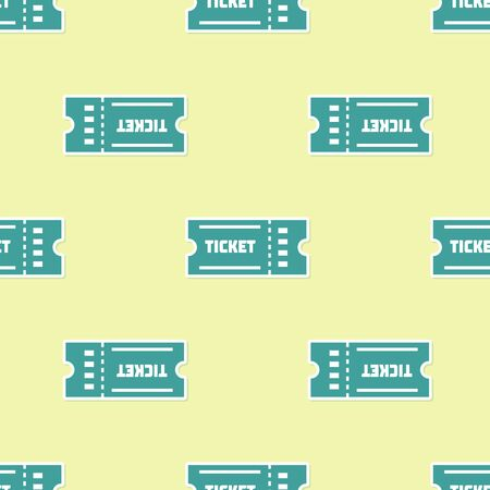 Green Ticket icon isolated seamless pattern on yellow background. Vector Illustration