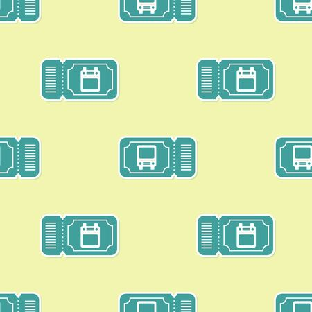 Green Bus ticket icon isolated seamless pattern on yellow background. Public transport ticket. Vector Illustration