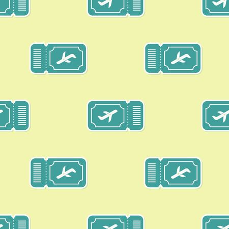 Green Airline ticket icon isolated seamless pattern on yellow background. Plane ticket. Vector Illustration Ilustrace