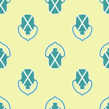 Green Canteen water bottle icon isolated seamless pattern on yellow background. Tourist flask icon. Jar of water use in the campaign. Vector Illustration Ilustrace