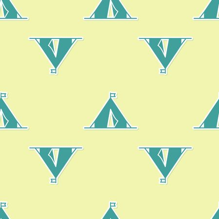 Green Tourist tent with flag icon isolated seamless pattern on yellow background. Camping symbol. Vector Illustration