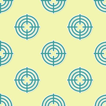 Green Target sport for shooting competition icon isolated seamless pattern on yellow background. Clean target with numbers for shooting range or shooting. Vector Illustration Çizim