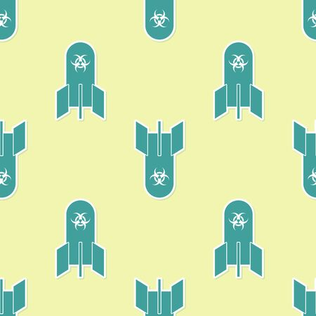 Green Biohazard bomb icon isolated seamless pattern on yellow background. Rocket bomb flies down. Vector Illustration Çizim