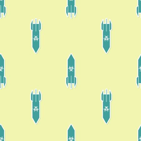 Green Biohazard rocket icon isolated seamless pattern on yellow background. Rocket bomb flies down. Vector Illustration Çizim