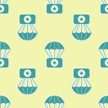 Green Parachute with first aid kit icon isolated seamless pattern on yellow background. Medical insurance. Vector Illustration