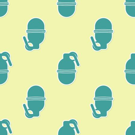 Green Hand grenade icon isolated seamless pattern on yellow background. Bomb explosion. Vector Illustration