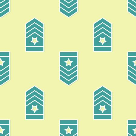 Green Chevron icon isolated seamless pattern on yellow background. Military badge sign. Vector Illustration