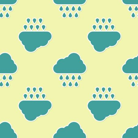 Green Cloud with rain icon isolated seamless pattern on yellow background. Rain cloud precipitation with rain drops. Vector Illustration