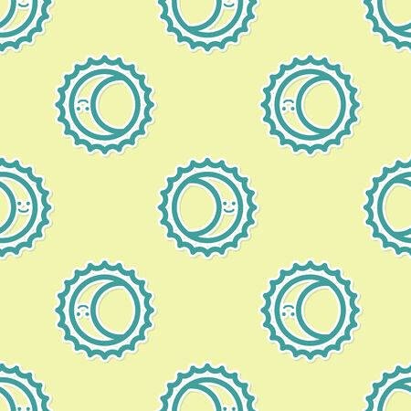 Green Eclipse of the sun icon isolated seamless pattern on yellow background. Total sonar eclipse. Vector Illustration