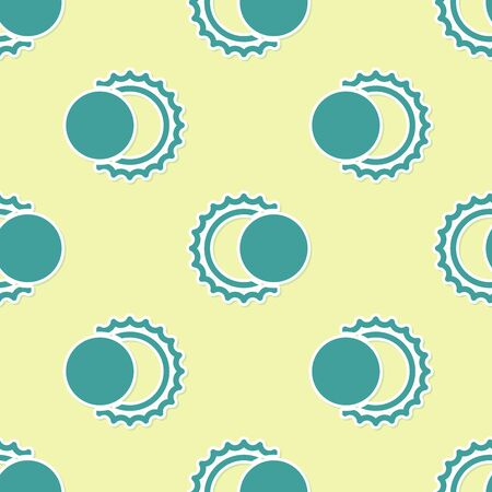 Green Eclipse of the sun icon isolated seamless pattern on yellow background. Total solar eclipse. Vector Illustration 向量圖像