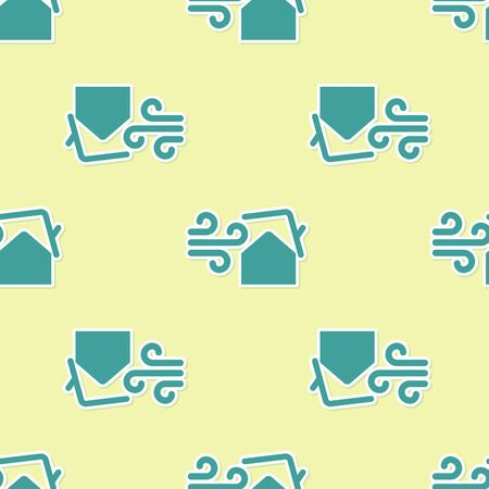 Green Tornado swirl damages house roof icon isolated seamless pattern on yellow background. Cyclone, whirlwind, storm funnel, hurricane wind icon. Vector Illustration Stock Vector - 130720882