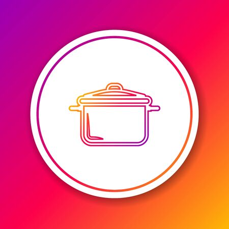 Color line Cooking pot icon isolated on color background. Boil or stew food symbol. Circle white button. Vector Illustration