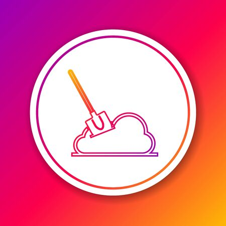 Color line Shovel in the ground icon isolated on color background. Gardening tool. Tool for horticulture, agriculture, farming. Circle white button. Vector Illustration