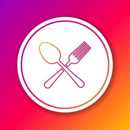 Color line Crossed fork and spoon icon isolated on color background. Cooking utensil. Cutlery sign. Circle white button. Vector Illustration