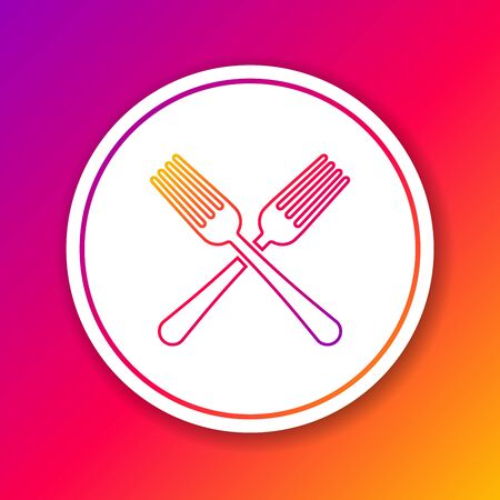 Color line Crossed fork icon isolated on color background. Cutlery symbol. Circle white button. Vector Illustration