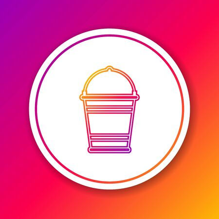 Color line Bucket icon isolated on color background. Circle white button. Vector Illustration