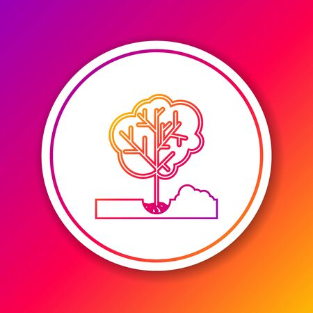 Color line Planting a tree in the ground icon isolated on color background. Gardening, agriculture, caring for environment. Circle white button. Vector Illustration