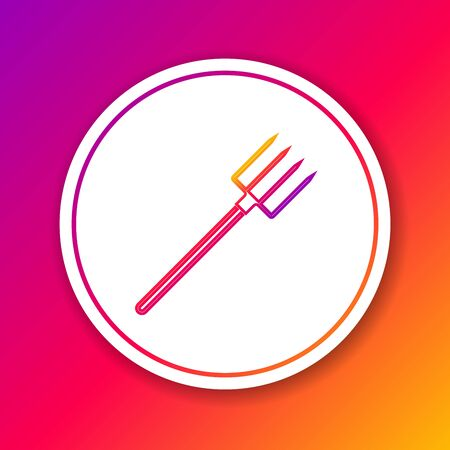 Color line Garden pitchfork icon isolated on color background. Garden fork sign. Tool for horticulture, agriculture, farming. Circle white button. Vector Illustration