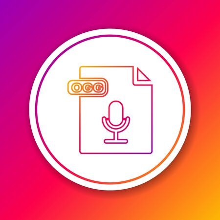 Color line OGG file document. Download ogg button icon isolated on color background. OGG file symbol. Circle white button. Vector Illustration Çizim