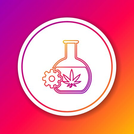 Color line Chemical test tube with marijuana or cannabis leaf icon isolated on color background. Research concept. Laboratory CBD oil concept. Circle white button. Vector Illustration