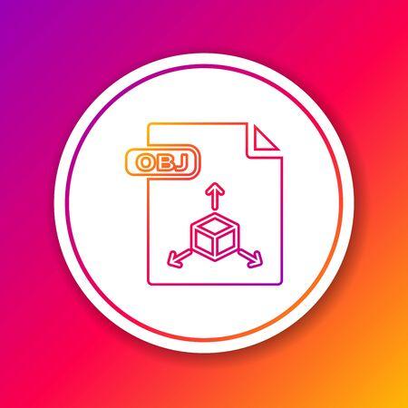 Color line OBJ file document. Download obj button icon isolated on color background. OBJ file symbol. Circle white button. Vector Illustration Çizim