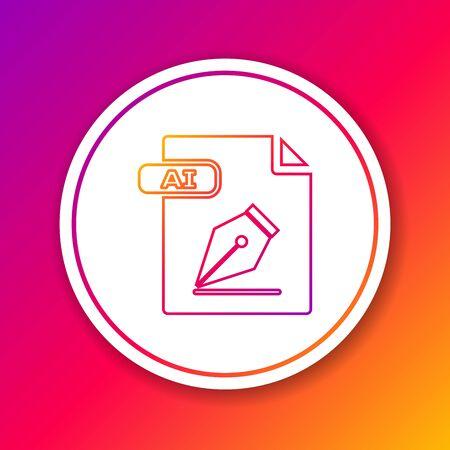 Color line AI file document. Download ai button icon isolated on color background. AI file symbol. Circle white button. Vector Illustration Çizim