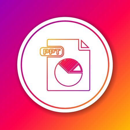 Color line PPT file document. Download ppt button icon isolated on color background. PPT file presentation. Circle white button. Vector Illustration